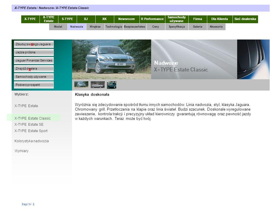 Slajd Nr 39 X-TYPE Estate S-TYPEXJXKR Performance Samochody używane Dla KlientaSieć dealerskaNewsroomFirma ModelTechnologiaBezpieczeństwoCenySpecyfikacjaGaleriaAkcesoriaWnętrze X-TYPE / Akcesoria / Wyposażenie sportowe Zbuduj swojego Jaguara Jazda próbna Jaguar Financial Services Znajdź dealera Samochody używane Pobierz prospekt x x Wybierz: Specyfikacja X-TYPE 2.0 Diesel Nadwozie Bez opisów 0102 03 05 04 06 Akcesoria X-TYPE Estate Prospekty X-TYPE Estate w pdf Wyposażenie elektroniczne Wyposażenie sportowe Stylizacja wnętrza Felgi Przewożenie / holowanie Rozmieszczenie bagażu Wyposażenie turystyczne wewn.