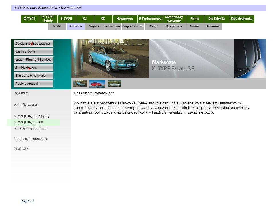 Slajd Nr 20 X-TYPE Estate S-TYPEXJXKR Performance Samochody używane Dla KlientaSieć dealerskaNewsroomFirma ModelTechnologiaBezpieczeństwoCenySpecyfikacjaGaleriaAkcesoriaWnętrze X-TYPE Estate / Technologia / Właściwości jezdne Zbuduj swojego Jaguara Jazda próbna Jaguar Financial Services Znajdź dealera Samochody używane Pobierz prospekt x x Wybierz: Technologia X-TYPE Nadwozie Silniki Właściwości jezdne Skrzynie biegów Widoczność Nawigacja Komputer pokładowy System dźwiękowy Ekran dotykowy Na silnych nogach Jazda Jaguarem X-TYPE w najgorszych nawet warunkach drogowych, to jak jazda w piękny dzień w doskonałych warunkach.