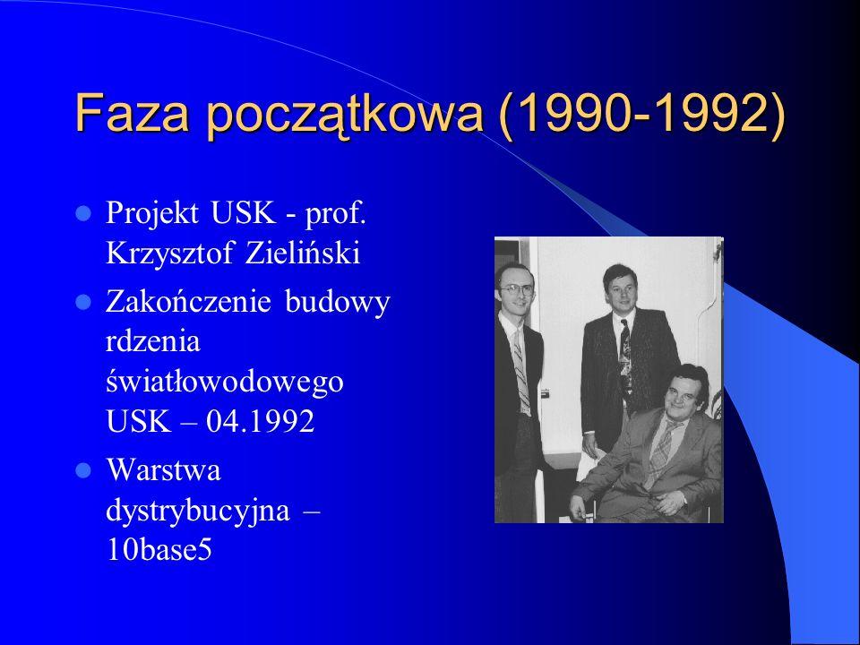 Faza początkowa (1990-1992) Projekt USK - prof. Krzysztof Zieliński Zakończenie budowy rdzenia światłowodowego USK – 04.1992 Warstwa dystrybucyjna – 1