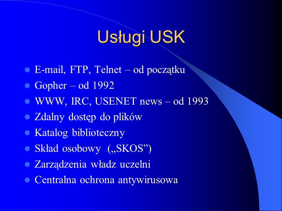 Usługi USK E-mail, FTP, Telnet – od początku Gopher – od 1992 WWW, IRC, USENET news – od 1993 Zdalny dostęp do plików Katalog biblioteczny Skład osobo