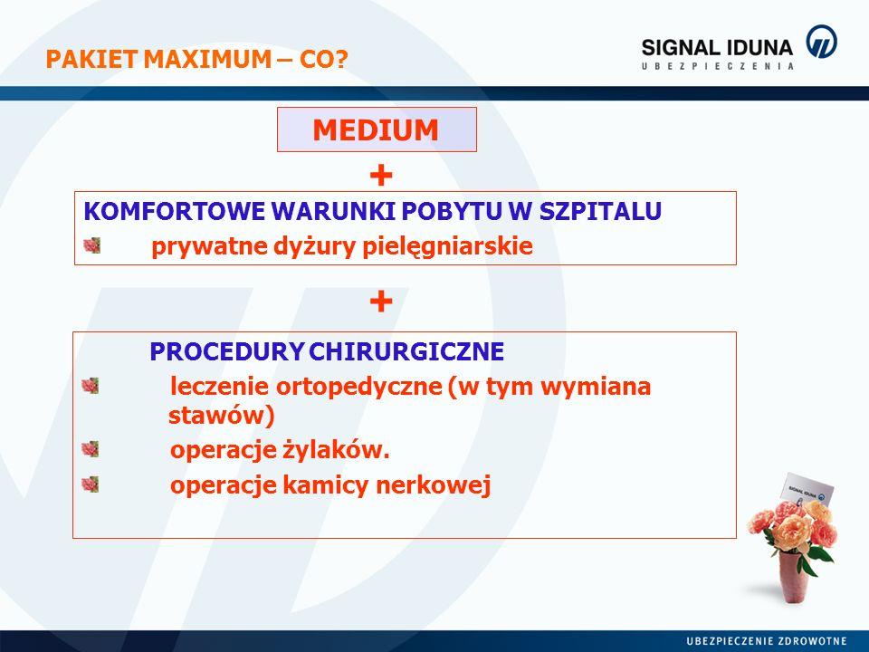 PAKIET MAXIMUM – CO? MEDIUM + KOMFORTOWE WARUNKI POBYTU W SZPITALU prywatne dyżury pielęgniarskie PROCEDURY CHIRURGICZNE leczenie ortopedyczne (w tym