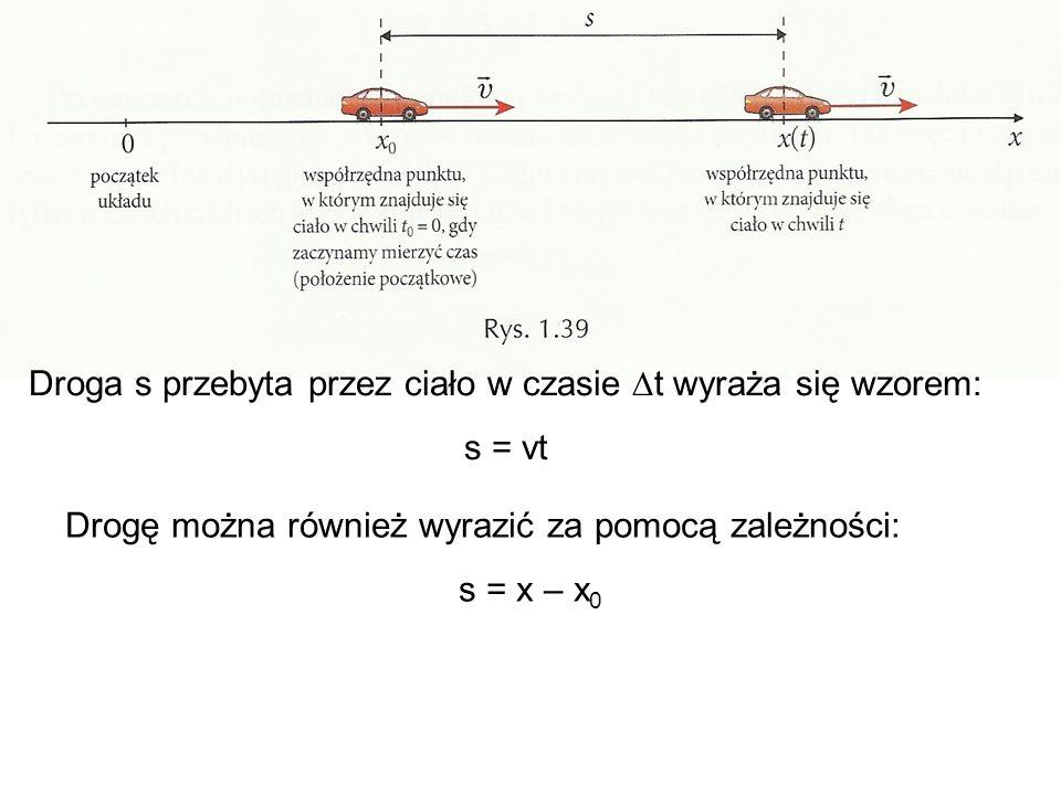 Droga s przebyta przez ciało w czasie t wyraża się wzorem: s = vt Drogę można również wyrazić za pomocą zależności: s = x – x 0 Jeżeli przyrównamy te wzory otrzymamy równość: x – x 0 = vt Po przekształceniu otrzymujemy wzór: x = x 0 + vt