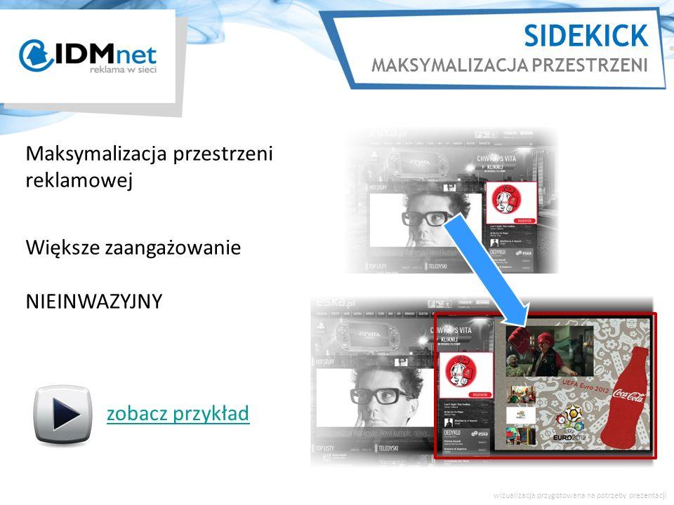 SIDEKICK MAKSYMALIZACJA PRZESTRZENI Maksymalizacja przestrzeni reklamowej Większe zaangażowanie NIEINWAZYJNY zobacz przykład wizualizacja przygotowana