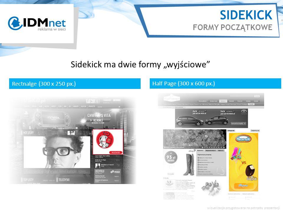 Sidekick ma dwie formy wyjściowe Rectnalge (300 x 250 px.) Half Page (300 x 600 px.) SIDEKICK FORMY POCZĄTKOWE wizualizacja przygotowana na potrzeby p