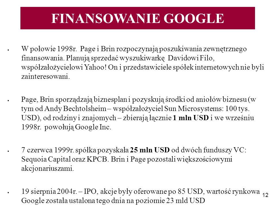 12 FINANSOWANIE GOOGLE W połowie 1998r. Page i Brin rozpoczynają poszukiwania zewnętrznego finansowania. Planują sprzedać wyszukiwarkę Davidowi Filo,
