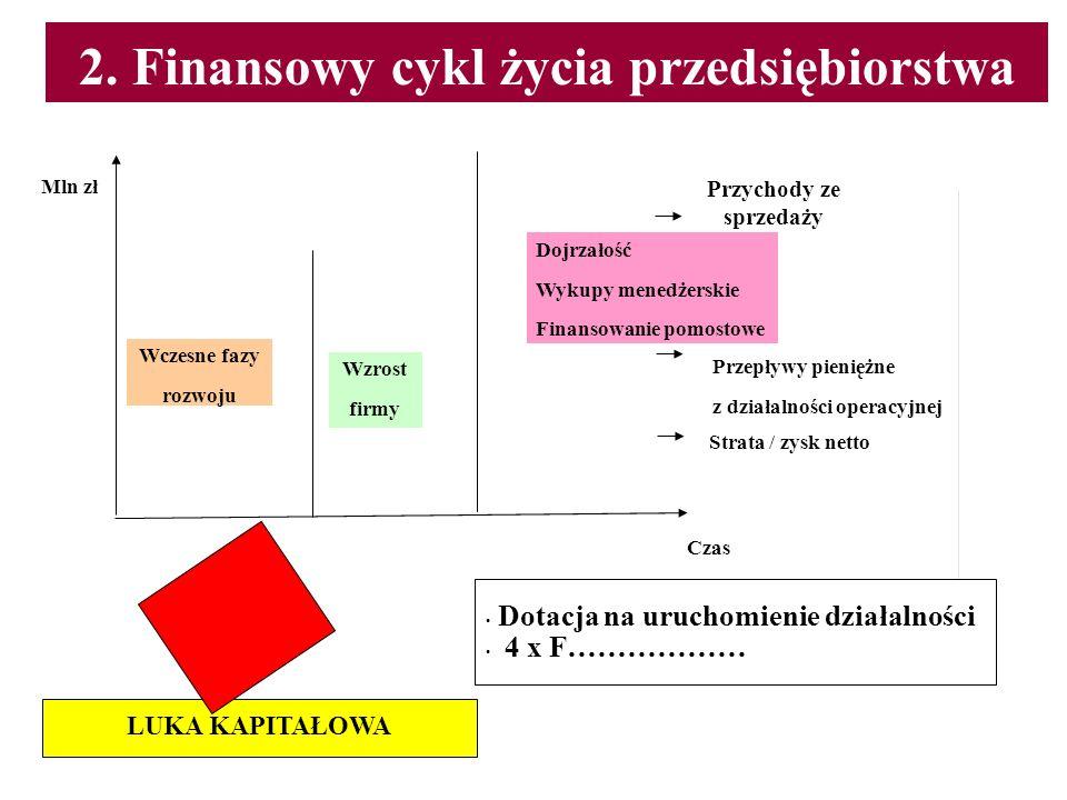 2. Finansowy cykl życia przedsiębiorstwa Wczesne fazy rozwoju Wzrost firmy Dojrzałość Wykupy menedżerskie Finansowanie pomostowe Przychody ze sprzedaż