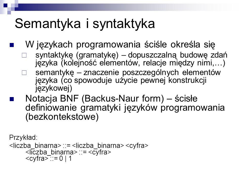 Semantyka i syntaktyka W językach programowania ściśle określa się syntaktykę (gramatykę) – dopuszczalną budowę zdań języka (kolejność elementów, rela