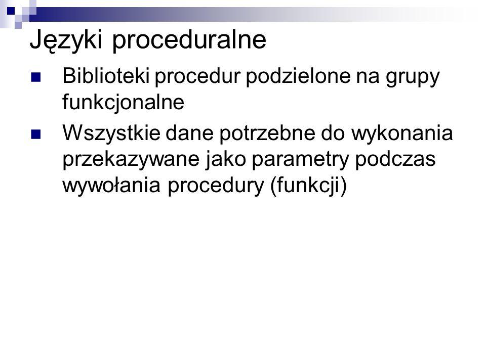 Języki proceduralne Biblioteki procedur podzielone na grupy funkcjonalne Wszystkie dane potrzebne do wykonania przekazywane jako parametry podczas wyw