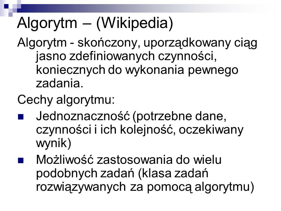 Algorytm – (Wikipedia) Algorytm - skończony, uporządkowany ciąg jasno zdefiniowanych czynności, koniecznych do wykonania pewnego zadania. Cechy algory