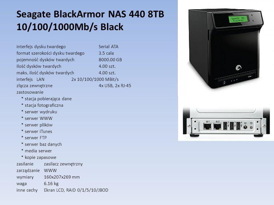 Seagate BlackArmor NAS 440 8TB 10/100/1000Mb/s Black interfejs dysku twardego Serial ATA format szerokości dysku twardego 3.5 cala pojemność dysków tw
