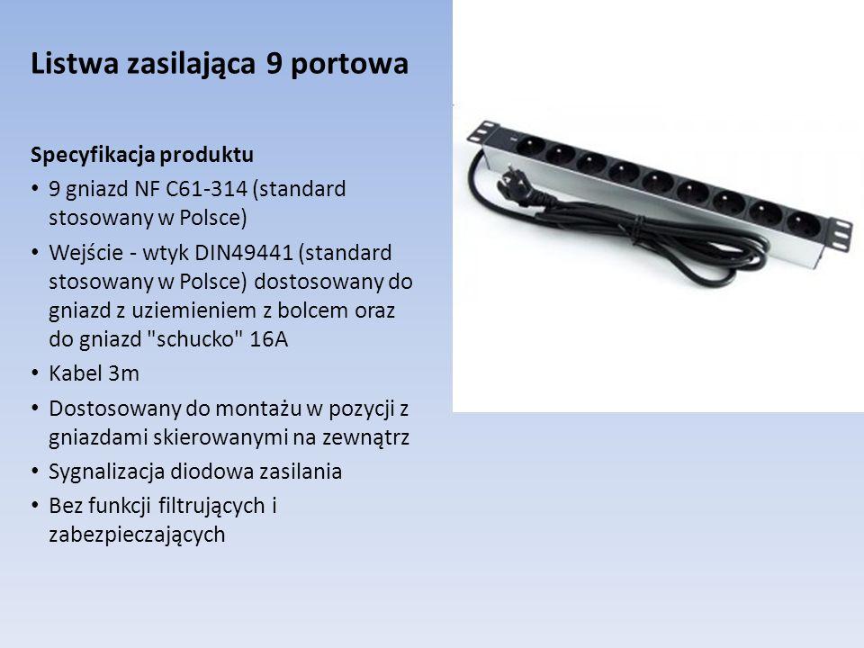 Listwa zasilająca 9 portowa Specyfikacja produktu 9 gniazd NF C61-314 (standard stosowany w Polsce) Wejście - wtyk DIN49441 (standard stosowany w Pols