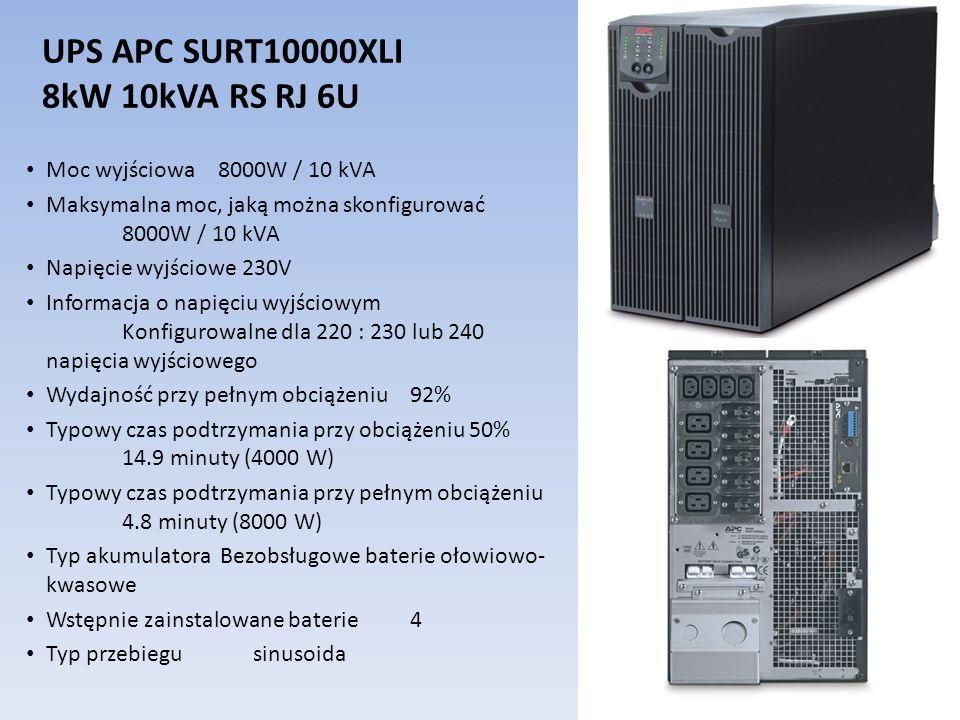 UPS APC SURT10000XLI 8kW 10kVA RS RJ 6U Moc wyjściowa 8000W / 10 kVA Maksymalna moc, jaką można skonfigurować 8000W / 10 kVA Napięcie wyjściowe 230V I