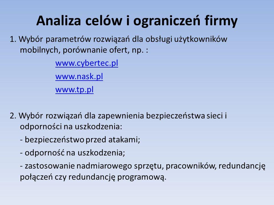 Analiza celów i ograniczeń firmy 1. Wybór parametrów rozwiązań dla obsługi użytkowników mobilnych, porównanie ofert, np. : www.cybertec.pl www.nask.pl