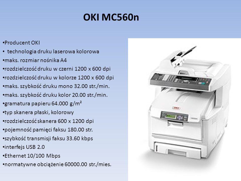 Producent OKI technologia druku laserowa kolorowa maks. rozmiar nośnika A4 rozdzielczość druku w czerni 1200 x 600 dpi rozdzielczość druku w kolorze 1