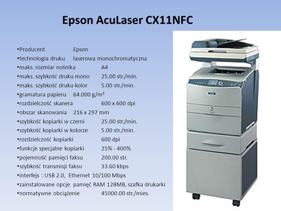 Producent Epson technologia druku laserowa monochromatyczna maks. rozmiar nośnika A4 maks. szybkość druku mono 25.00 str./min. maks. szybkość druku ko