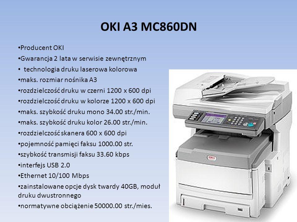 OKI A3 MC860DN Producent OKI Gwarancja 2 lata w serwisie zewnętrznym technologia druku laserowa kolorowa maks. rozmiar nośnika A3 rozdzielczość druku