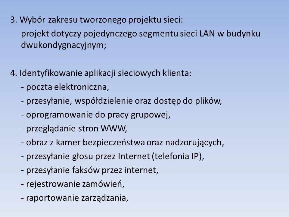 3. Wybór zakresu tworzonego projektu sieci: projekt dotyczy pojedynczego segmentu sieci LAN w budynku dwukondygnacyjnym; 4. Identyfikowanie aplikacji