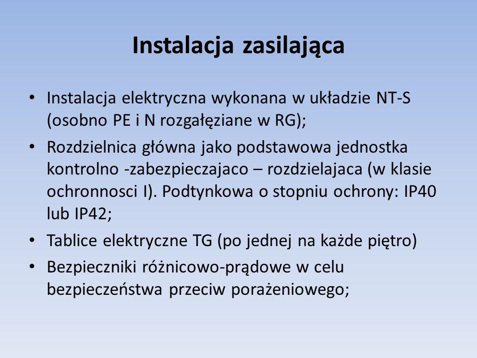 Instalacja zasilająca Instalacja elektryczna wykonana w układzie NT-S (osobno PE i N rozgałęziane w RG); Rozdzielnica główna jako podstawowa jednostka