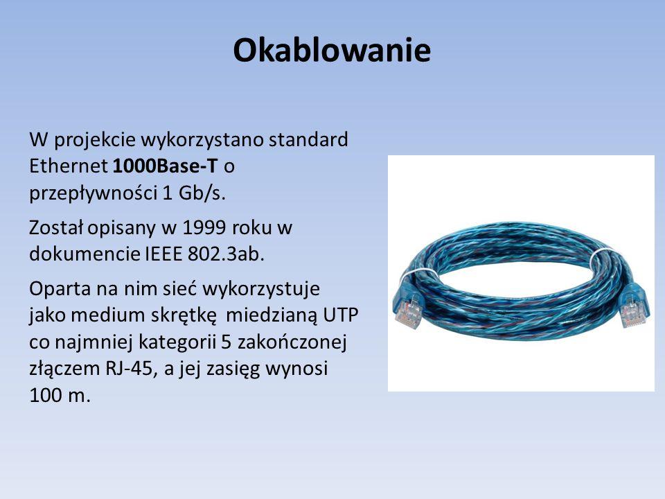 Okablowanie W projekcie wykorzystano standard Ethernet 1000Base-T o przepływności 1 Gb/s. Został opisany w 1999 roku w dokumencie IEEE 802.3ab. Oparta
