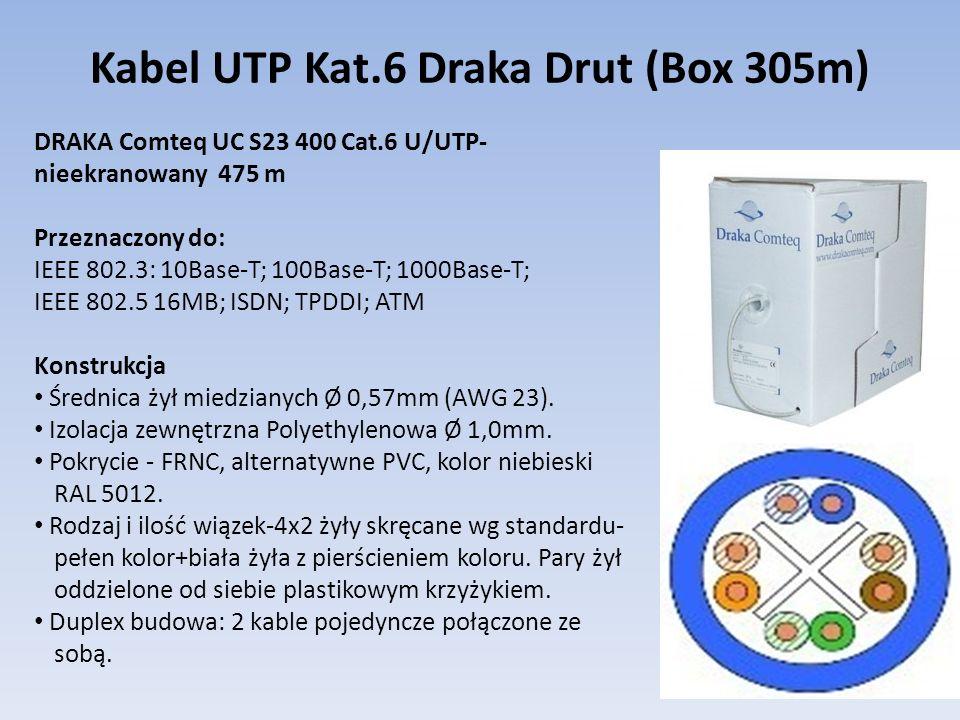 Kabel UTP Kat.6 Draka Drut (Box 305m) DRAKA Comteq UC S23 400 Cat.6 U/UTP- nieekranowany 475 m Przeznaczony do: IEEE 802.3: 10Base-T; 100Base-T; 1000B