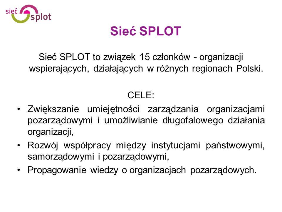 Sieć SPLOT to związek 15 członków - organizacji wspierających, działających w różnych regionach Polski. CELE: Zwiększanie umiejętności zarządzania org