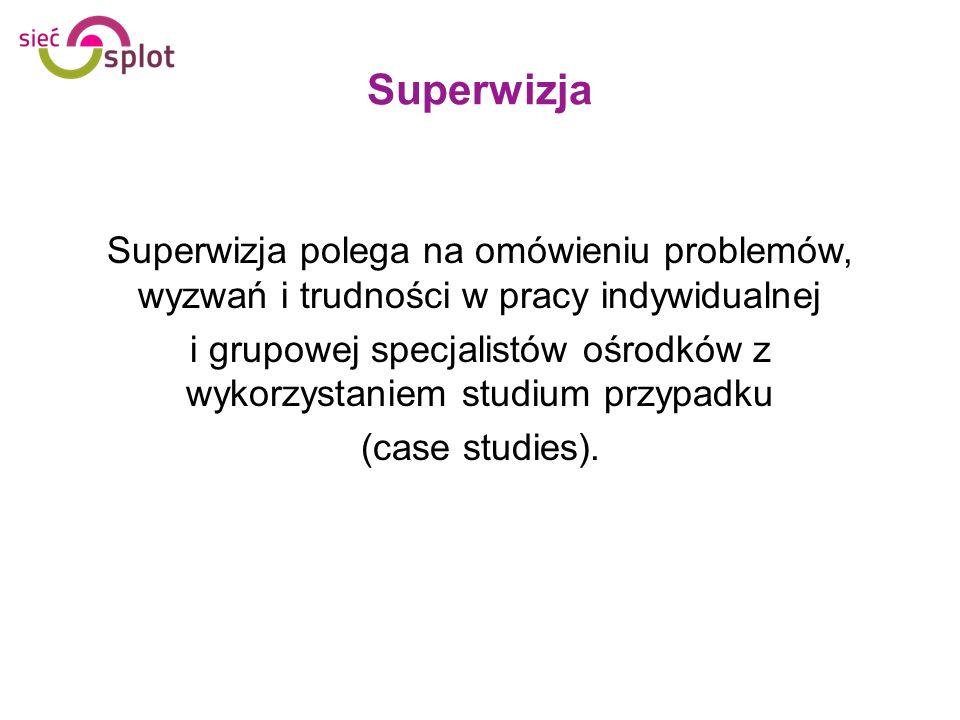 Superwizja Superwizja polega na omówieniu problemów, wyzwań i trudności w pracy indywidualnej i grupowej specjalistów ośrodków z wykorzystaniem studiu