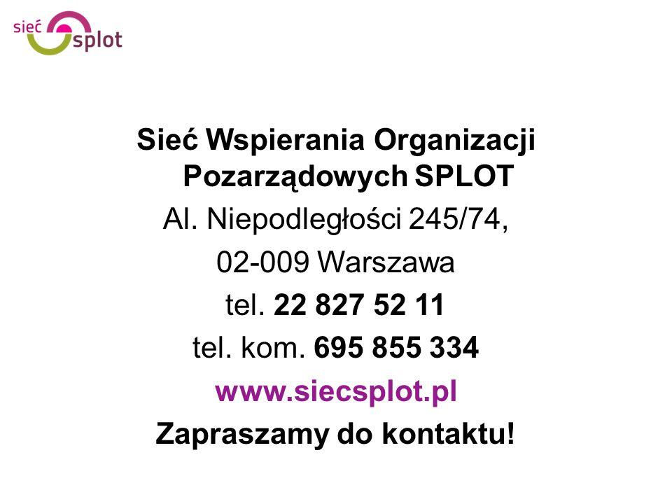 Sieć Wspierania Organizacji Pozarządowych SPLOT Al. Niepodległości 245/74, 02-009 Warszawa tel. 22 827 52 11 tel. kom. 695 855 334 www.siecsplot.pl Za