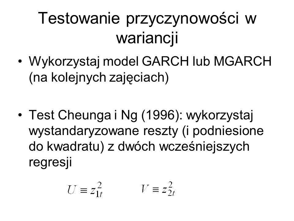Testowanie przyczynowości w wariancji Wykorzystaj model GARCH lub MGARCH (na kolejnych zajęciach) Test Cheunga i Ng (1996): wykorzystaj wystandaryzowa