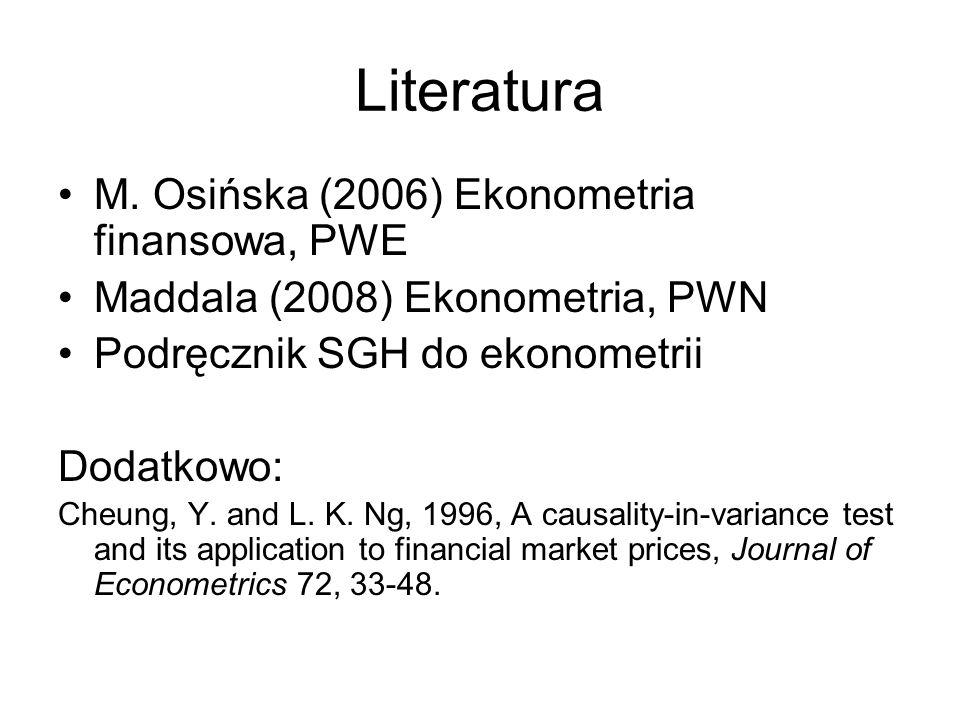 Literatura M. Osińska (2006) Ekonometria finansowa, PWE Maddala (2008) Ekonometria, PWN Podręcznik SGH do ekonometrii Dodatkowo: Cheung, Y. and L. K.