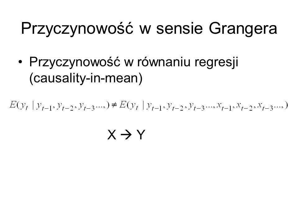 Przyczynowość w sensie Grangera Przyczynowość w równaniu regresji (causality-in-mean) X Y