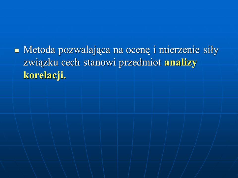 Metoda pozwalająca na ocenę i mierzenie siły związku cech stanowi przedmiot analizy korelacji. Metoda pozwalająca na ocenę i mierzenie siły związku ce