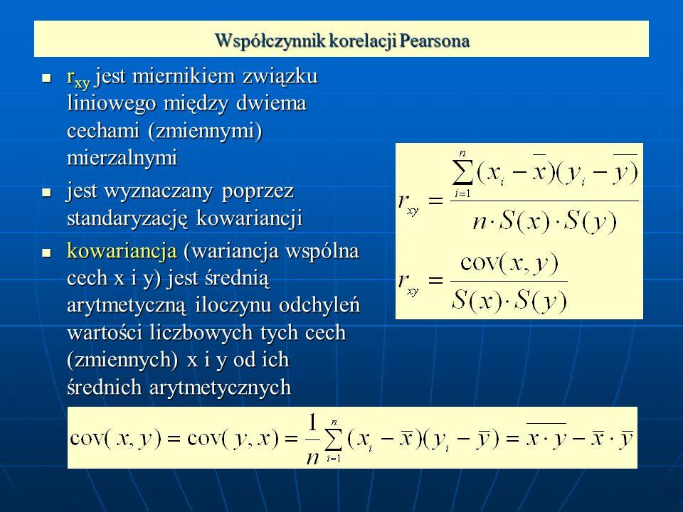Współczynnik korelacji Pearsona r xy jest miernikiem związku liniowego między dwiema cechami (zmiennymi) mierzalnymi r xy jest miernikiem związku lini