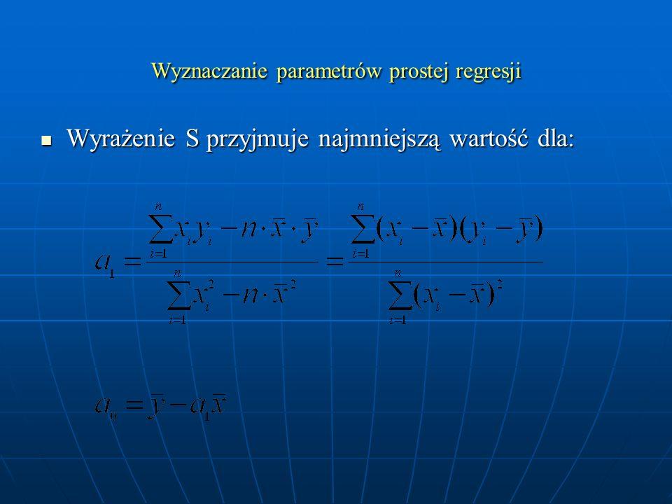 Wyznaczanie parametrów prostej regresji Wyrażenie S przyjmuje najmniejszą wartość dla: Wyrażenie S przyjmuje najmniejszą wartość dla: