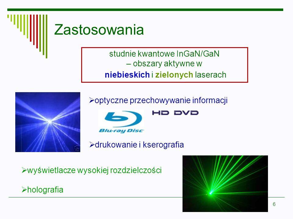 6 Zastosowania studnie kwantowe InGaN/GaN – obszary aktywne w niebieskich i zielonych laserach optyczne przechowywanie informacji drukowanie i kserogr