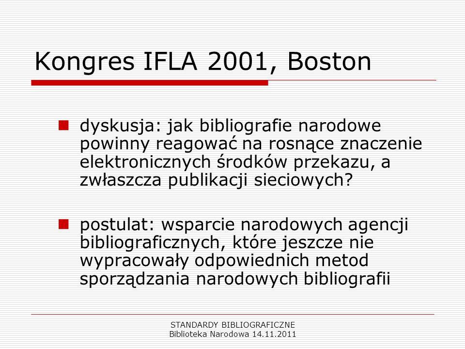 STANDARDY BIBLIOGRAFICZNE Biblioteka Narodowa 14.11.2011 Kongres IFLA 2001, Boston dyskusja: jak bibliografie narodowe powinny reagować na rosnące zna