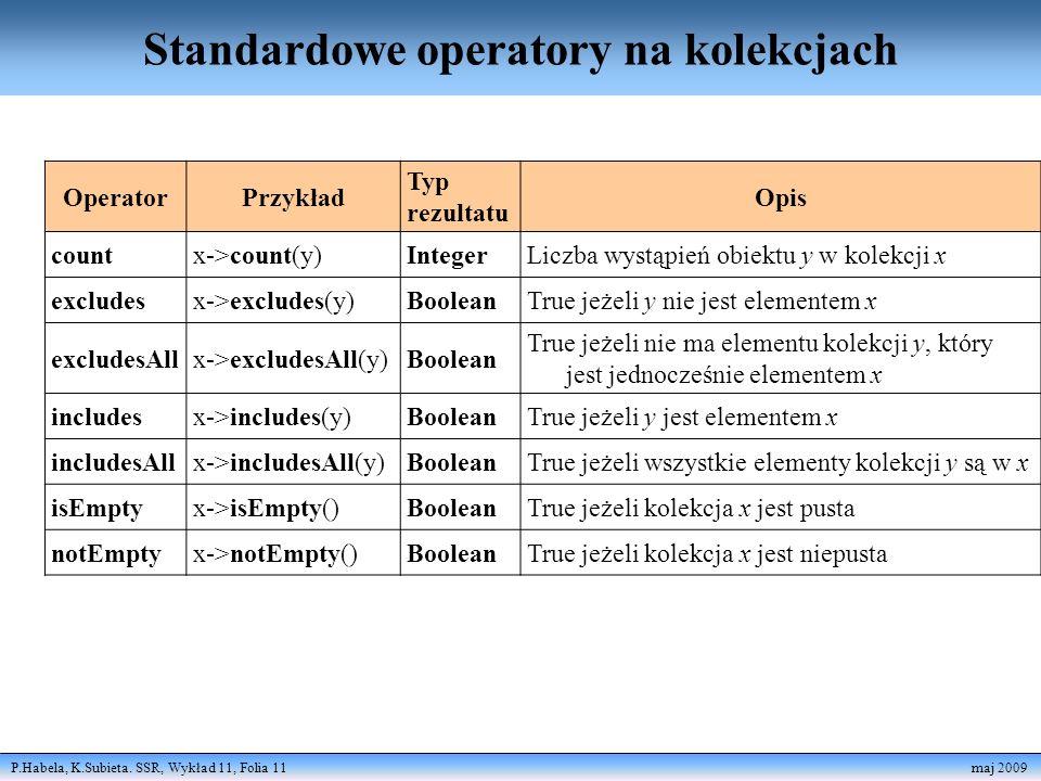 P.Habela, K.Subieta. SSR, Wykład 11, Folia 11 maj 2009 Standardowe operatory na kolekcjach OperatorPrzykład Typ rezultatu Opis countx->count(y)Integer