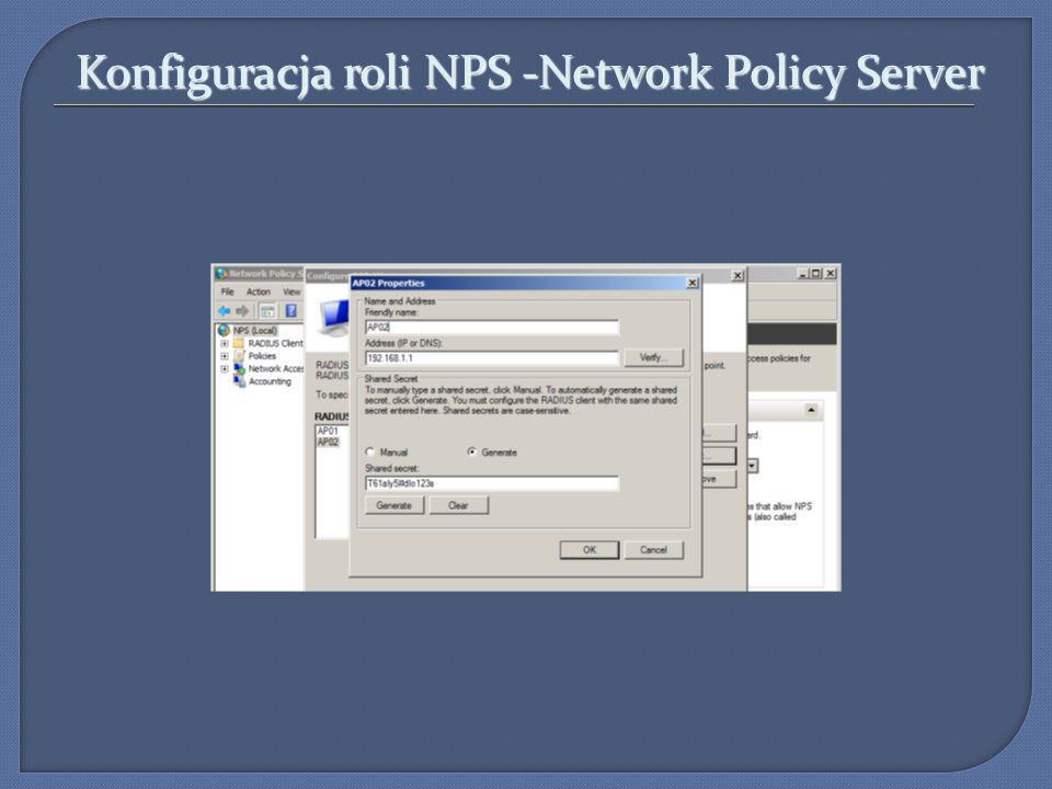 Konfiguracja roli NPS -Network Policy Server