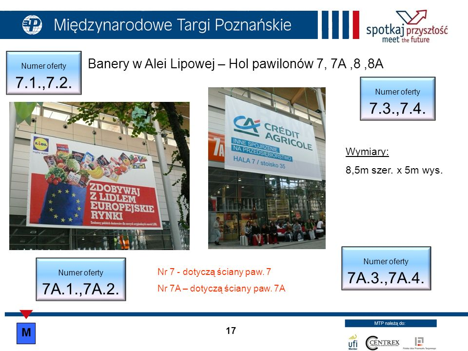Banery w Alei Lipowej – Hol pawilonów 7, 7A,8,8A Wymiary: 8,5m szer. x 5m wys. Numer oferty 7.1.,7.2. Numer oferty 7.3.,7.4. Numer oferty 7A.1.,7A.2.