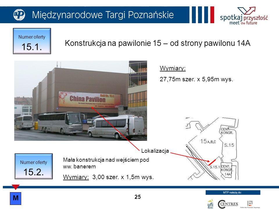 Numer oferty 15.3.Konstrukcja na pawilonie 15 – sektor 15 Lokalizacja Wymiary: 25,2m szer.