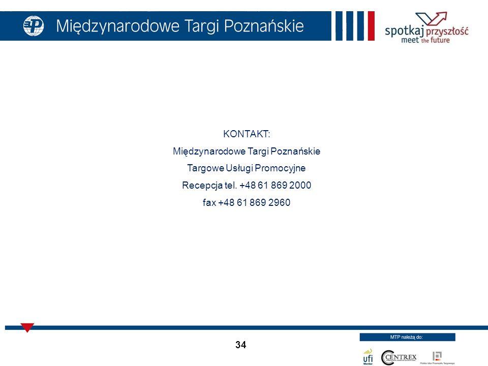 34 KONTAKT: Międzynarodowe Targi Poznańskie Targowe Usługi Promocyjne Recepcja tel. +48 61 869 2000 fax +48 61 869 2960