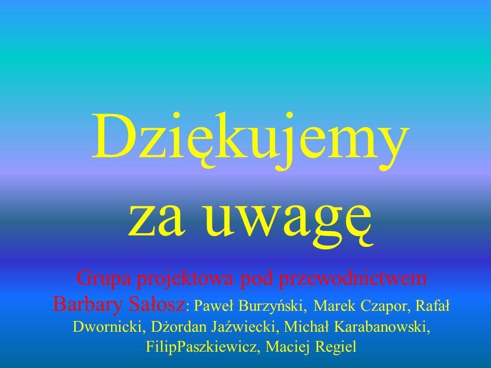 Dziękujemy za uwagę Grupa projektowa pod przewodnictwem Barbary Sałosz : Paweł Burzyński, Marek Czapor, Rafał Dwornicki, Dżordan Jaźwiecki, Michał Kar
