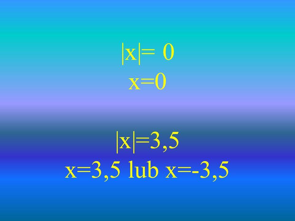 |x|= 0 x=0 |x|=3,5 x=3,5 lub x=-3,5