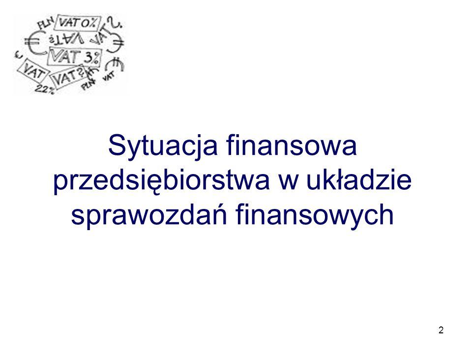 2 Sytuacja finansowa przedsiębiorstwa w układzie sprawozdań finansowych
