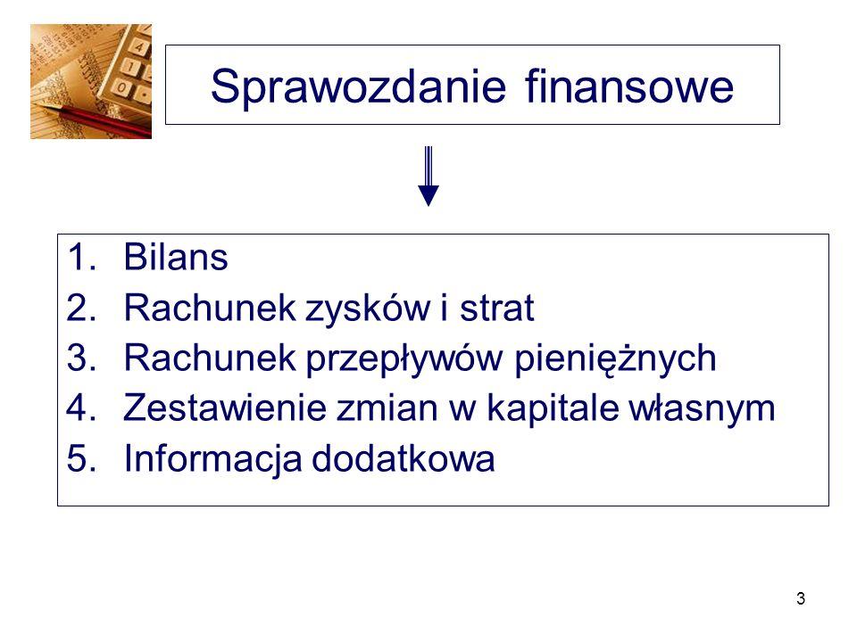 3 Sprawozdanie finansowe 1.Bilans 2.Rachunek zysków i strat 3.Rachunek przepływów pieniężnych 4.Zestawienie zmian w kapitale własnym 5.Informacja doda