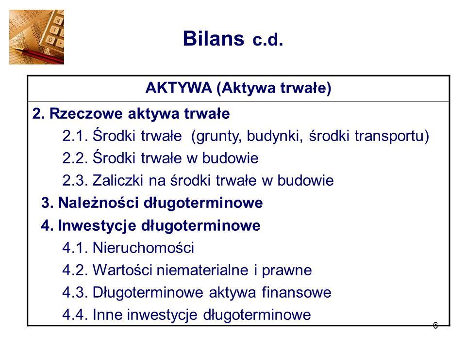 6 Bilans c.d. AKTYWA (Aktywa trwałe) 2. Rzeczowe aktywa trwałe 2.1. Środki trwałe (grunty, budynki, środki transportu) 2.2. Środki trwałe w budowie 2.