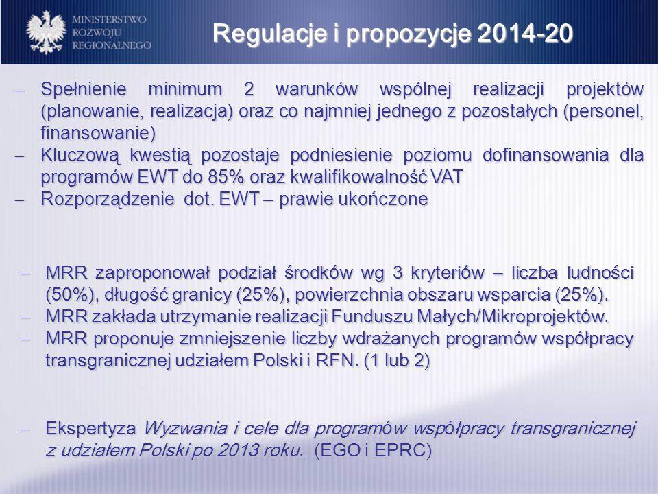Regulacje i propozycje 2014-20 MRR zaproponował podział środk ó w wg 3 kryteri ó w – liczba ludności (50%), długość granicy (25%), powierzchnia obszar