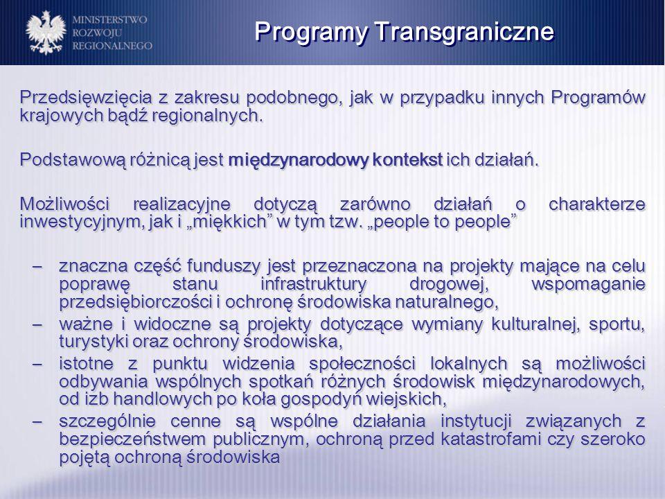 Przedsięwzięcia z zakresu podobnego, jak w przypadku innych Program ó w krajowych bądź regionalnych. Podstawową r ó żnicą jest międzynarodowy kontekst