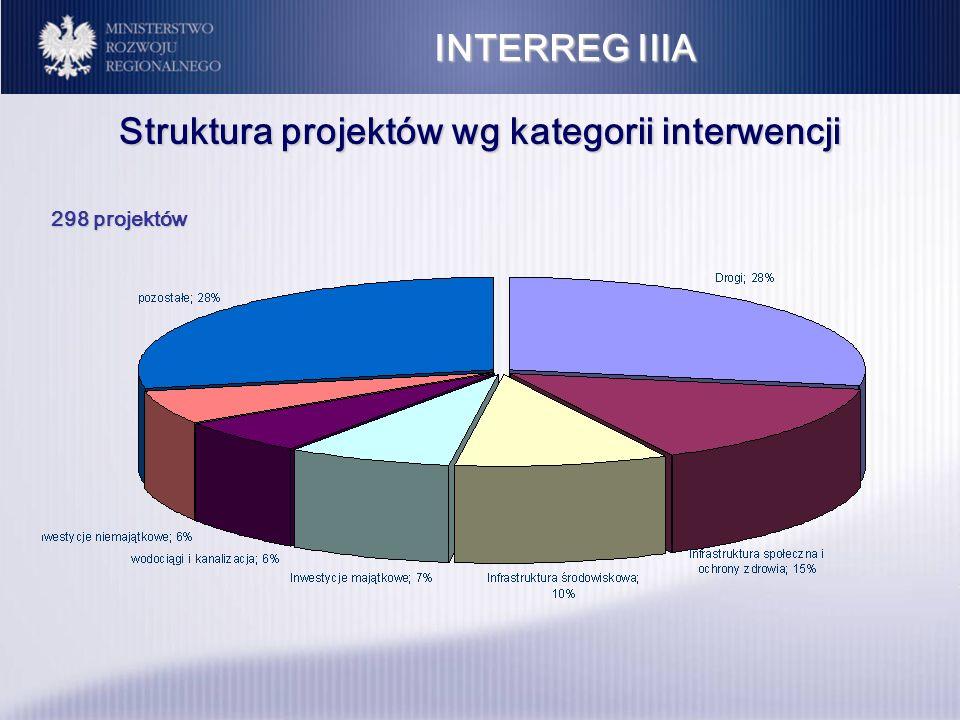 INTERREG IIIA Struktura projektów wg kategorii interwencji 298 projektów