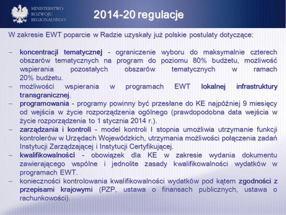 2014-20 regulacje W zakresie EWT poparcie w Radzie uzyskały już polskie postulaty dotyczące: koncentracj i tematyczn ej - ograniczenie wyboru do maksy