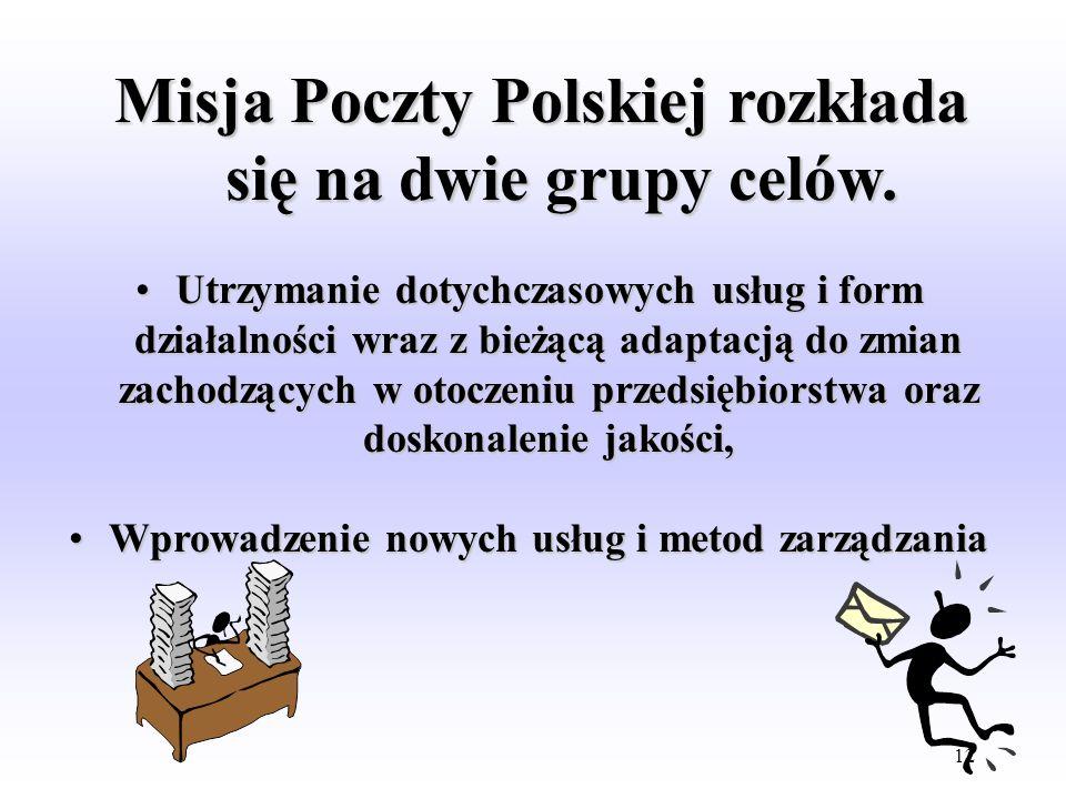 11 Misja p.p.u.p Poczta Polska Misja p.p.u.p Poczta Polska polega na wypełnianiu swych zadań statutowych, tzn, bieżącym i nieprzerwanym zaspakajaniu p